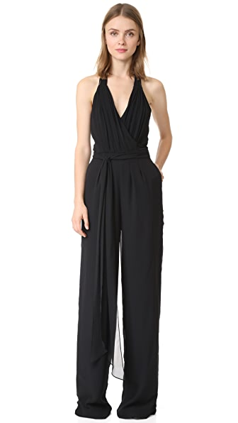 Joanna August Scarlette Pleated Halter Jumpsuit - Black