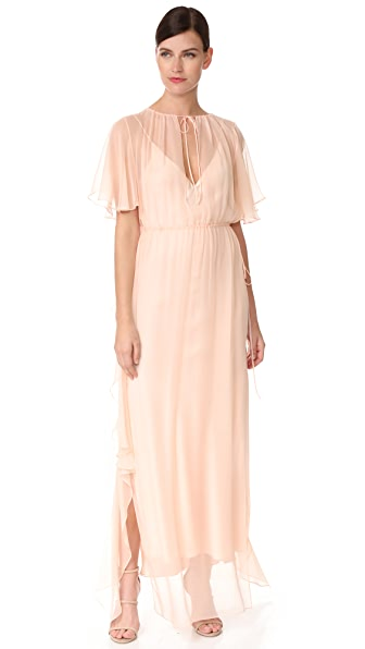 Juan Carlos Obando Ruffle Gathered Gown - Light Blush