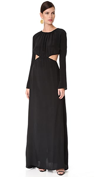 Juan Carlos Obando Gathered Long Sleeve Gown In Onyx