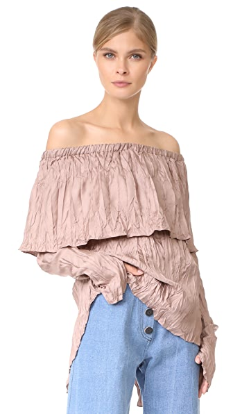 Juan Carlos Obando Pleated Peasant Blouse In Suave Mauve