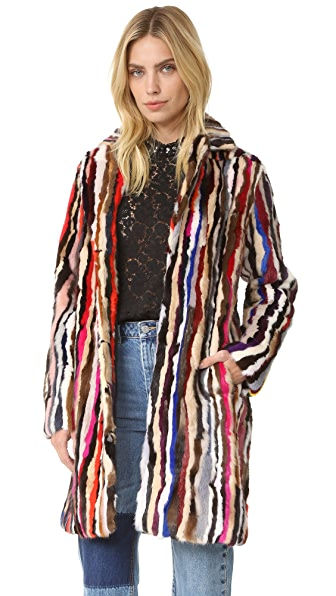 Jocelyn Mink Pieces Notch Collar Coat - Multi