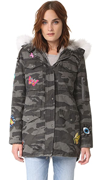 Jocelyn Grey Camo Cargo Coat - Silver