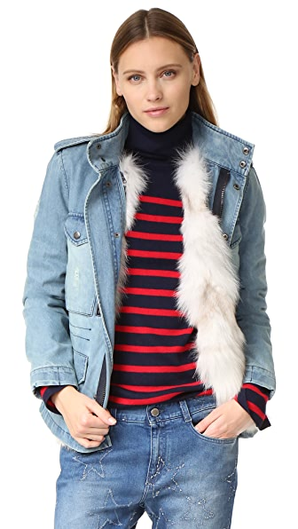 Jocelyn Denim Coat with Fox Fur Lining - Denim