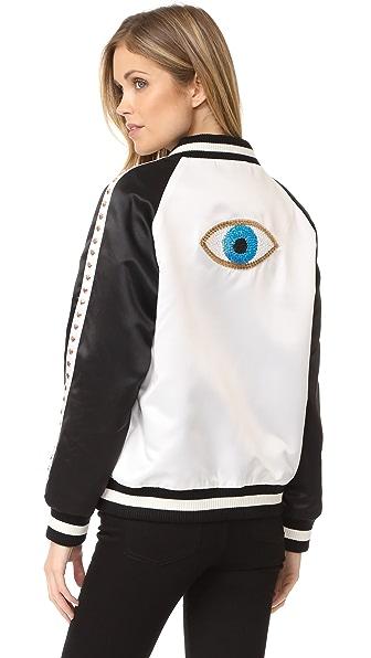 Jocelyn Evil Eye Bomber Jacket - Black/White