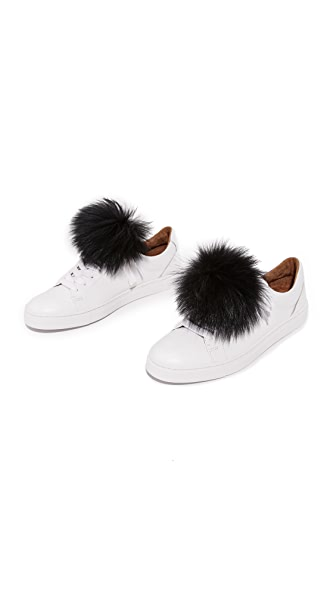 Jocelyn Shoelace Fur Pom Poms - Black