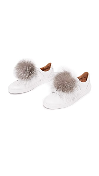 Jocelyn Shoelace Fur Poms - Natural Silver Fox