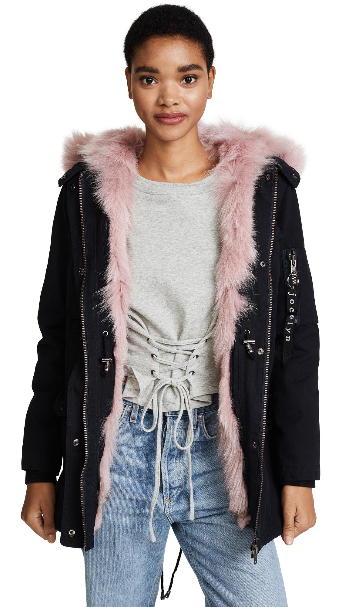 Jocelyn Cargo Coat With Fur Lining - Navy/Petal