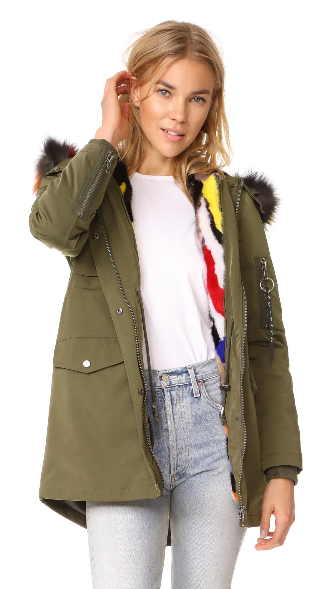 Jocelyn Cargo Coat With Mink Liner - Green/Bright Multi