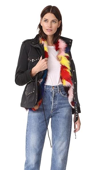 Jocelyn Field Jacket With Fox Liner In Black/Multi