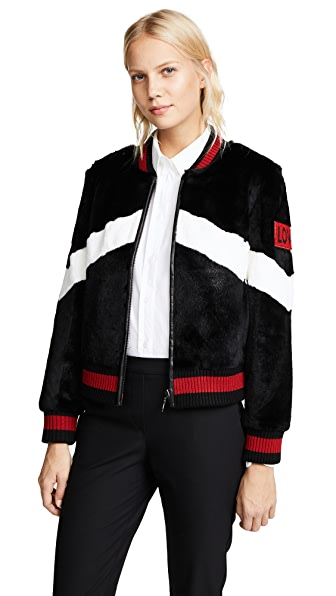 Jocelyn Rabbit Baseball Jacket In Black/White
