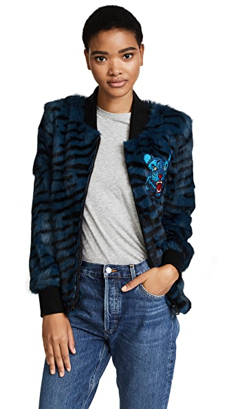 Jocelyn Tiger Print Bomber Jacket In Cadet Blue Tiger