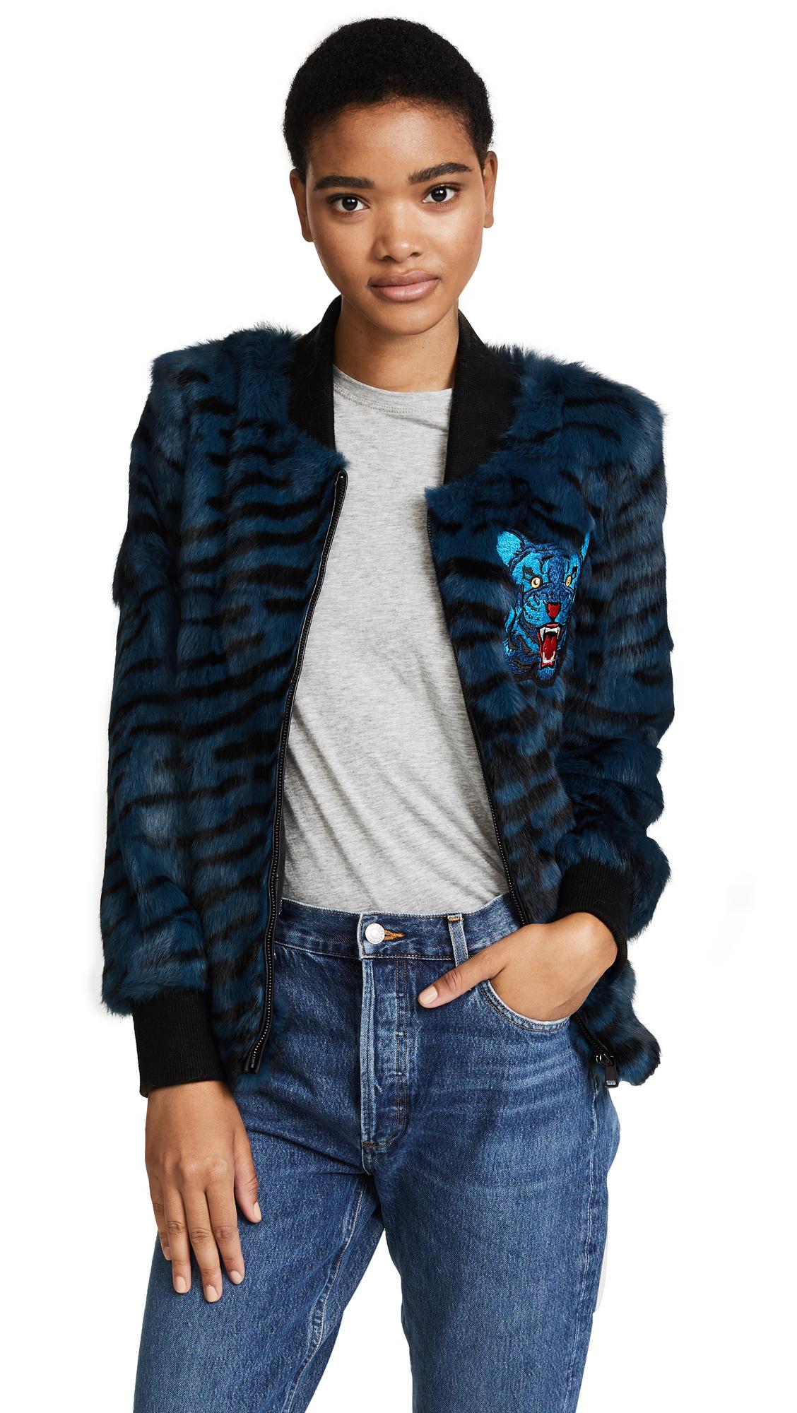 Jocelyn Tiger Print Bomber Jacket - Cadet Blue Tiger