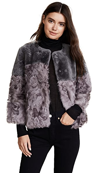 Jocelyn Shearling Patchwork Jacket In Grey Tie Dye