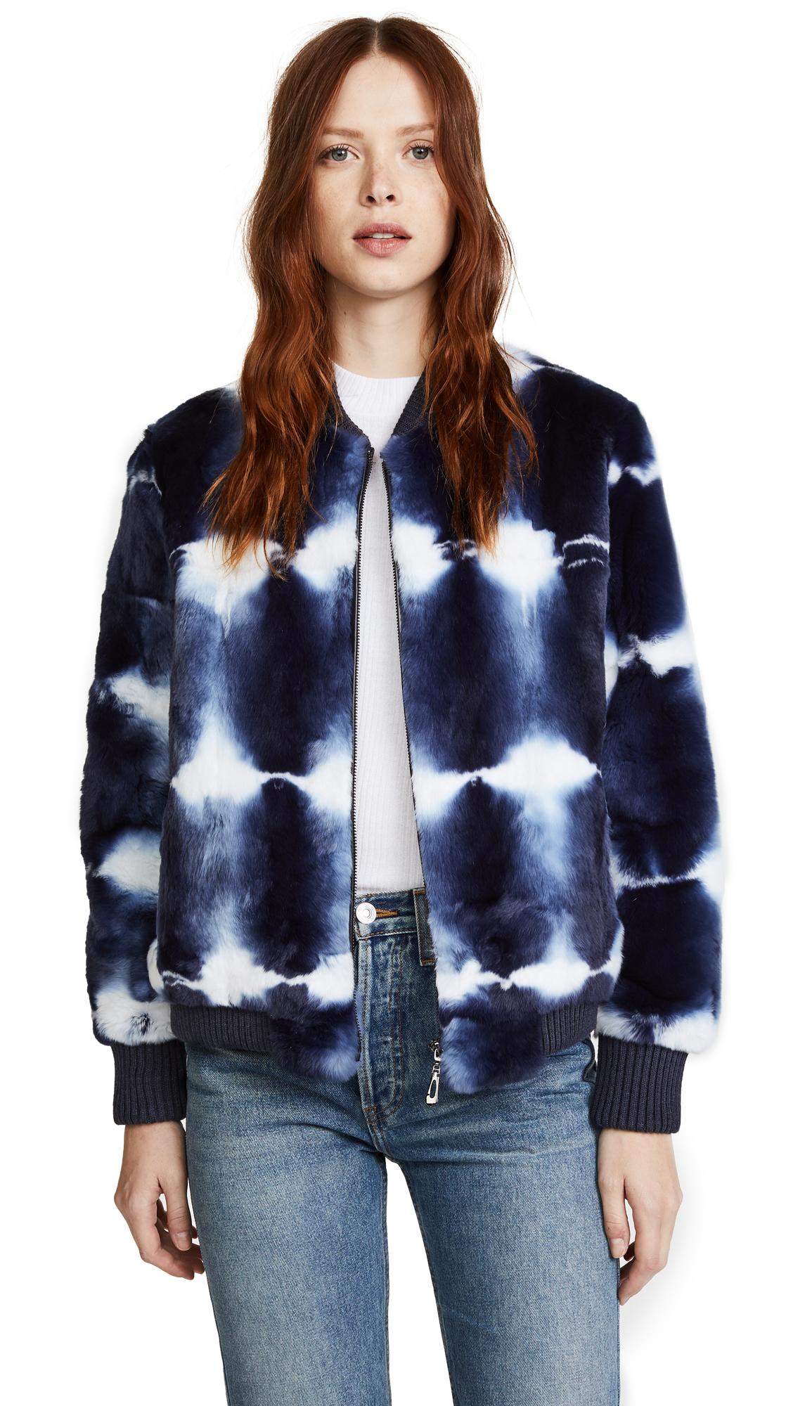 Jocelyn Tie Dye Fur Bomber Jacket - Navy