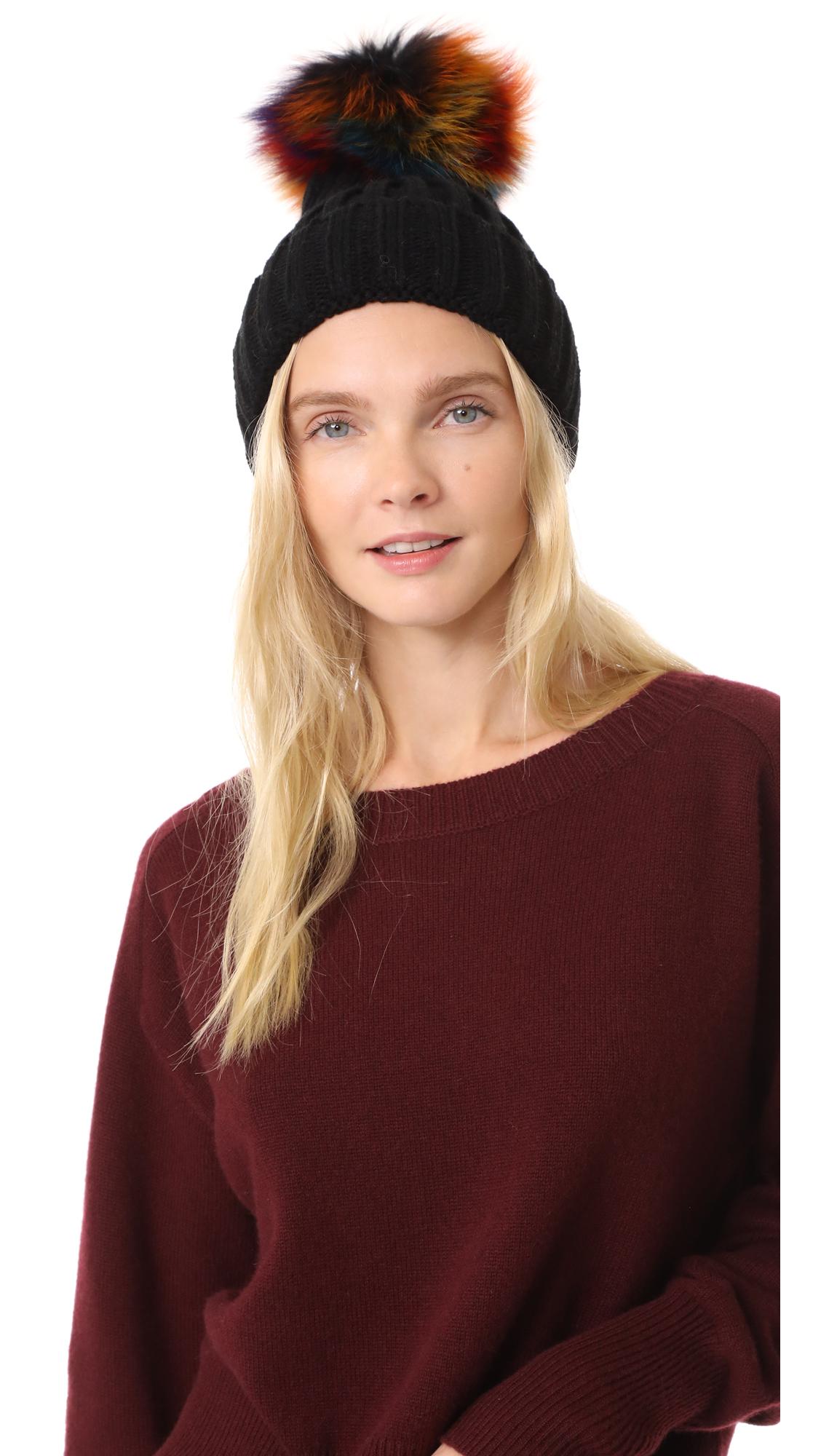 Jocelyn Knit Beanie Pom Hat - Black/Bright Multi