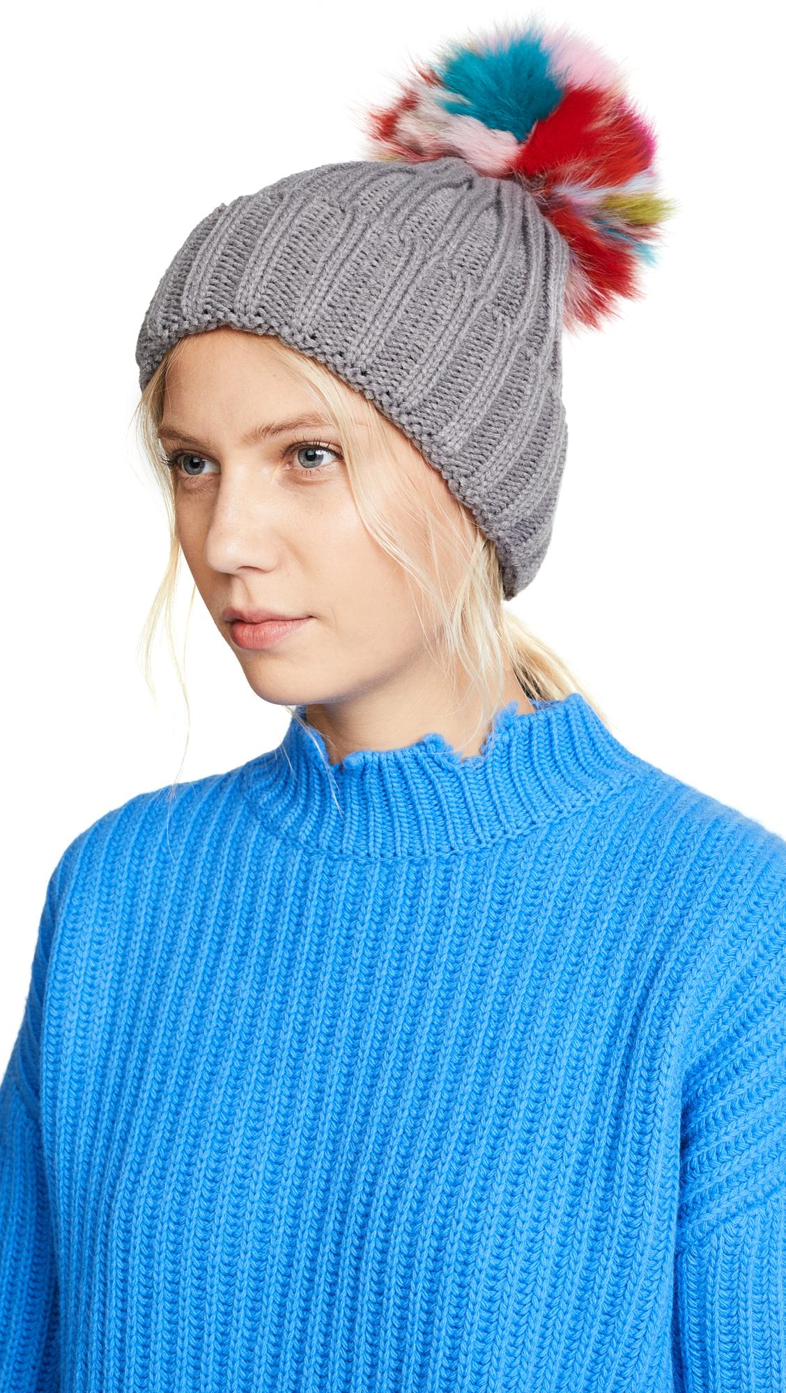 Jocelyn Knit Beanie Pom Hat - Grey/Light Multi