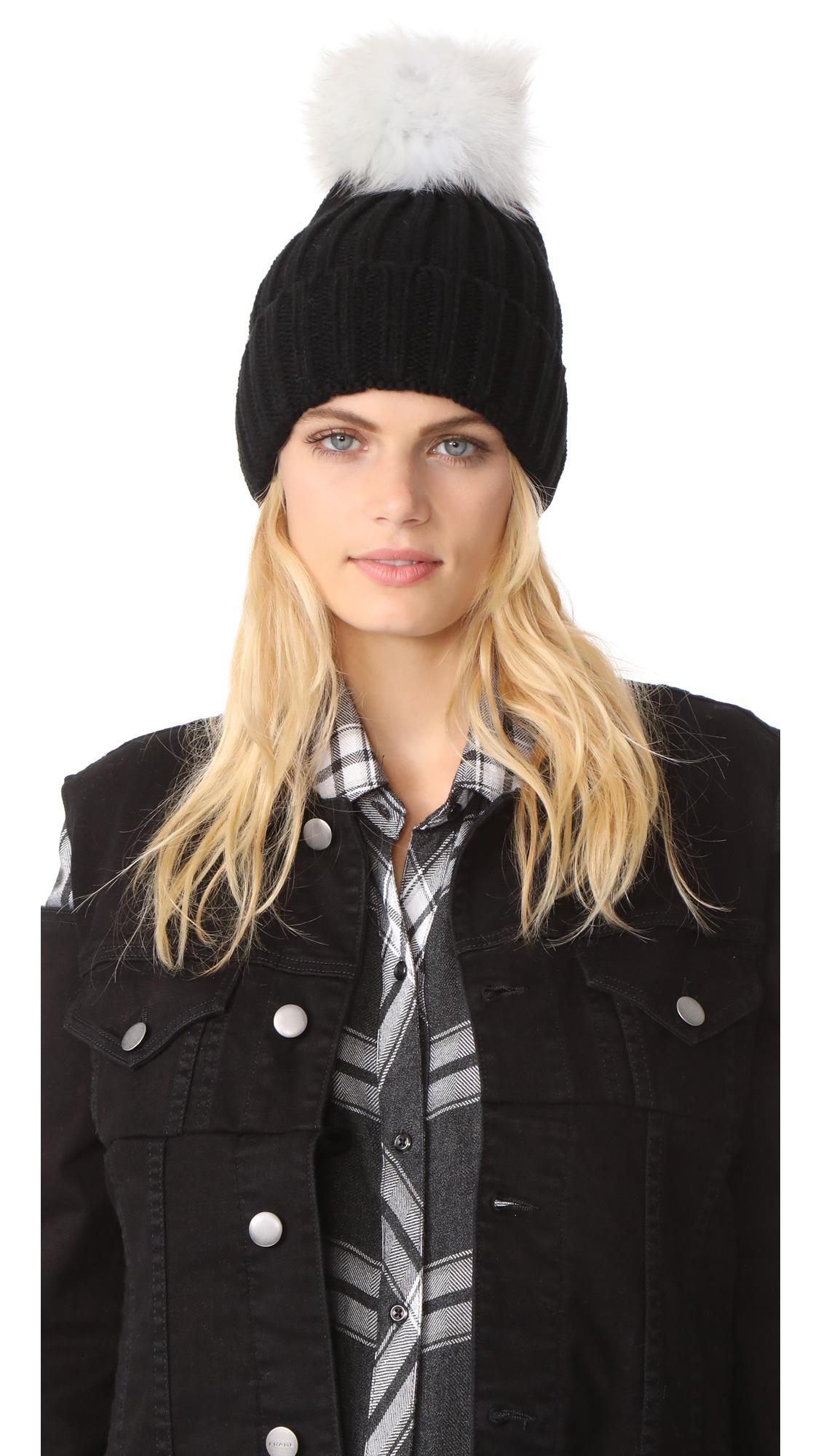 Jocelyn Knit Beanie Pom Hat - Black/White