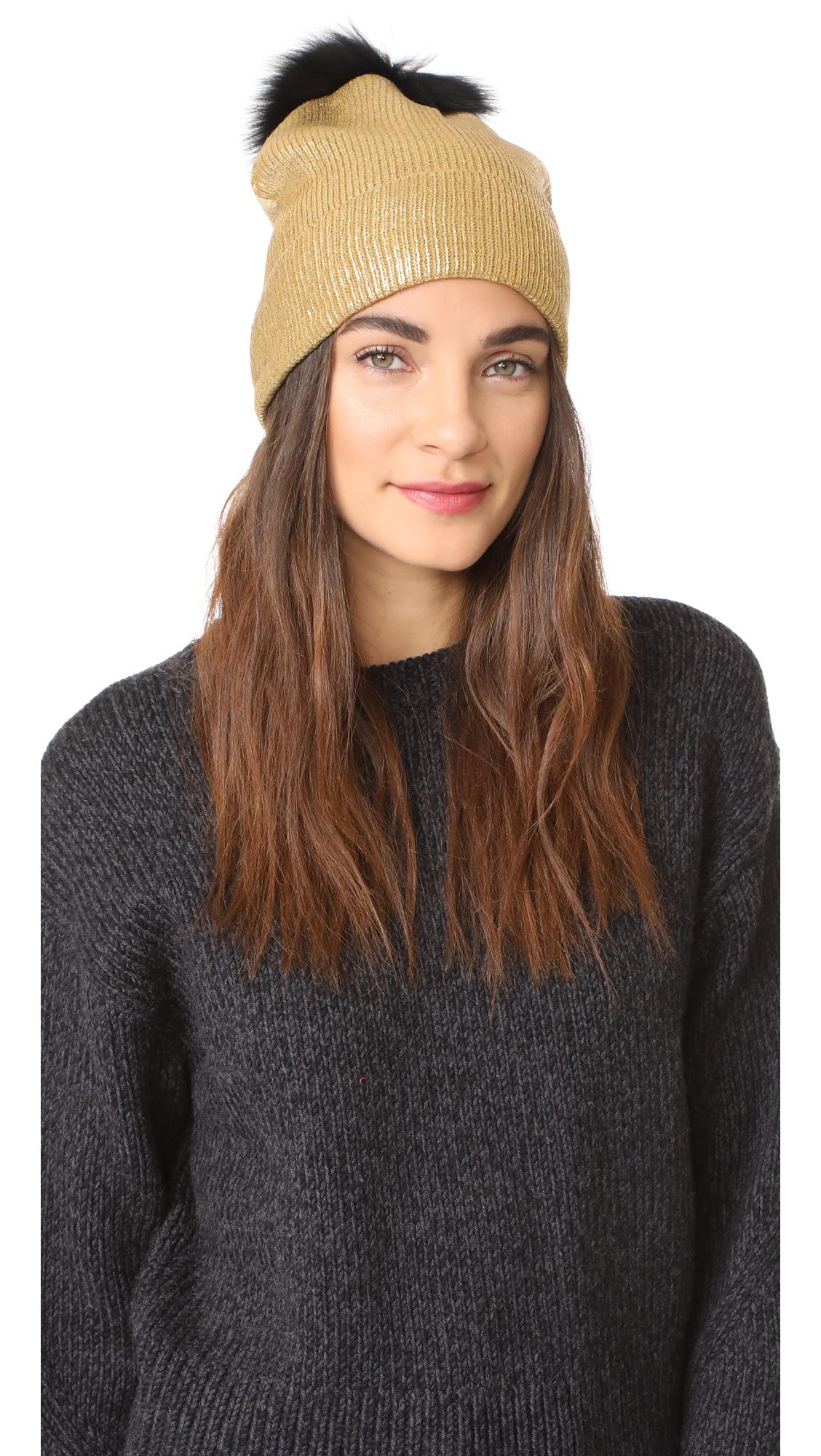 Jocelyn Metallic Beanie Pom Hat - Gold