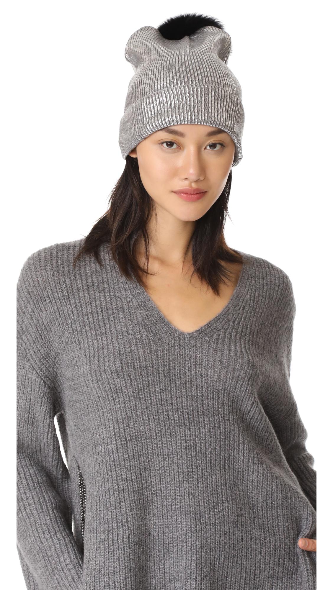 Jocelyn Metallic Beanie Pom Hat - Silver