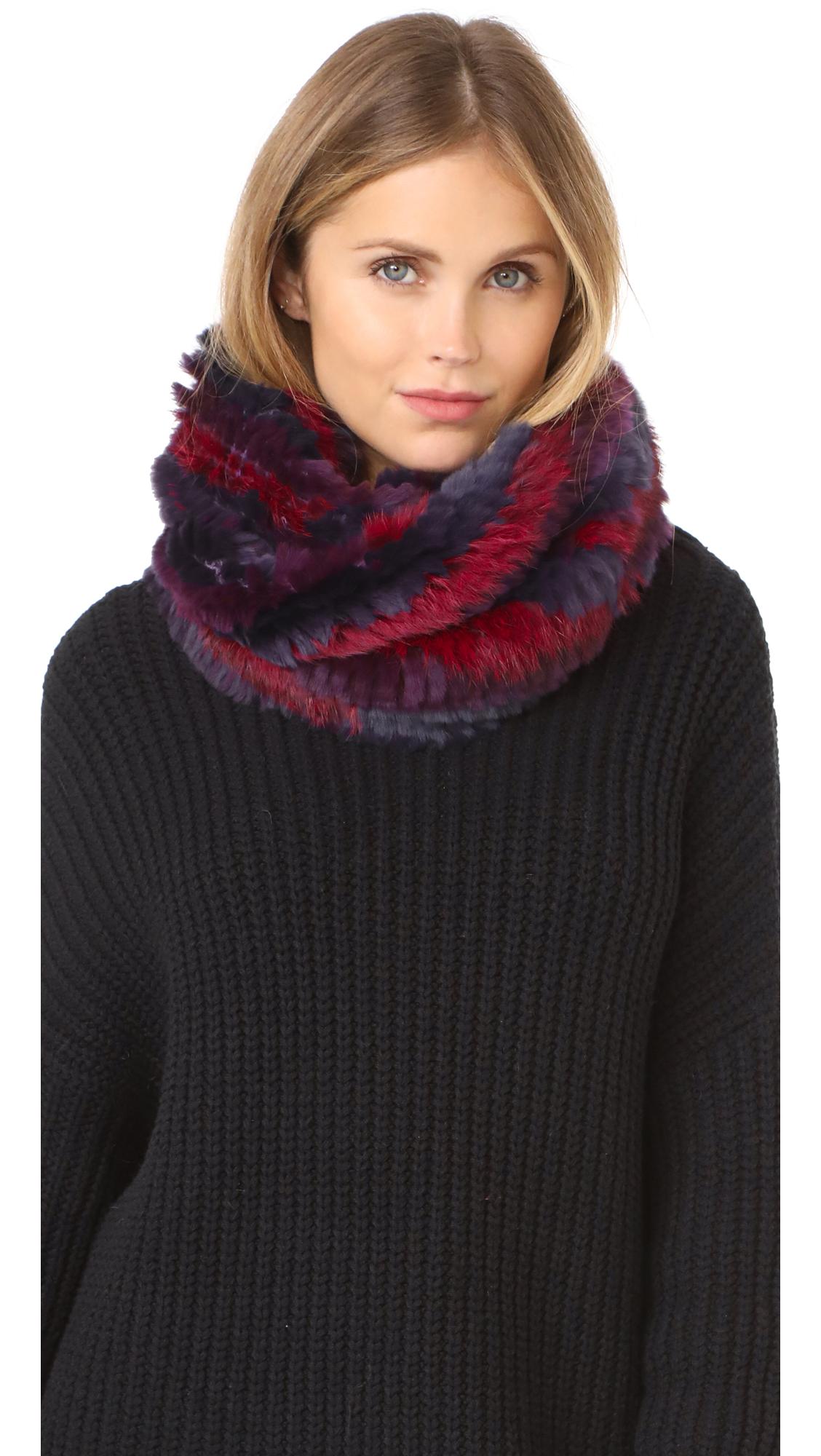 Jocelyn Knitted Fur Infinity Scarf - Navy Multi