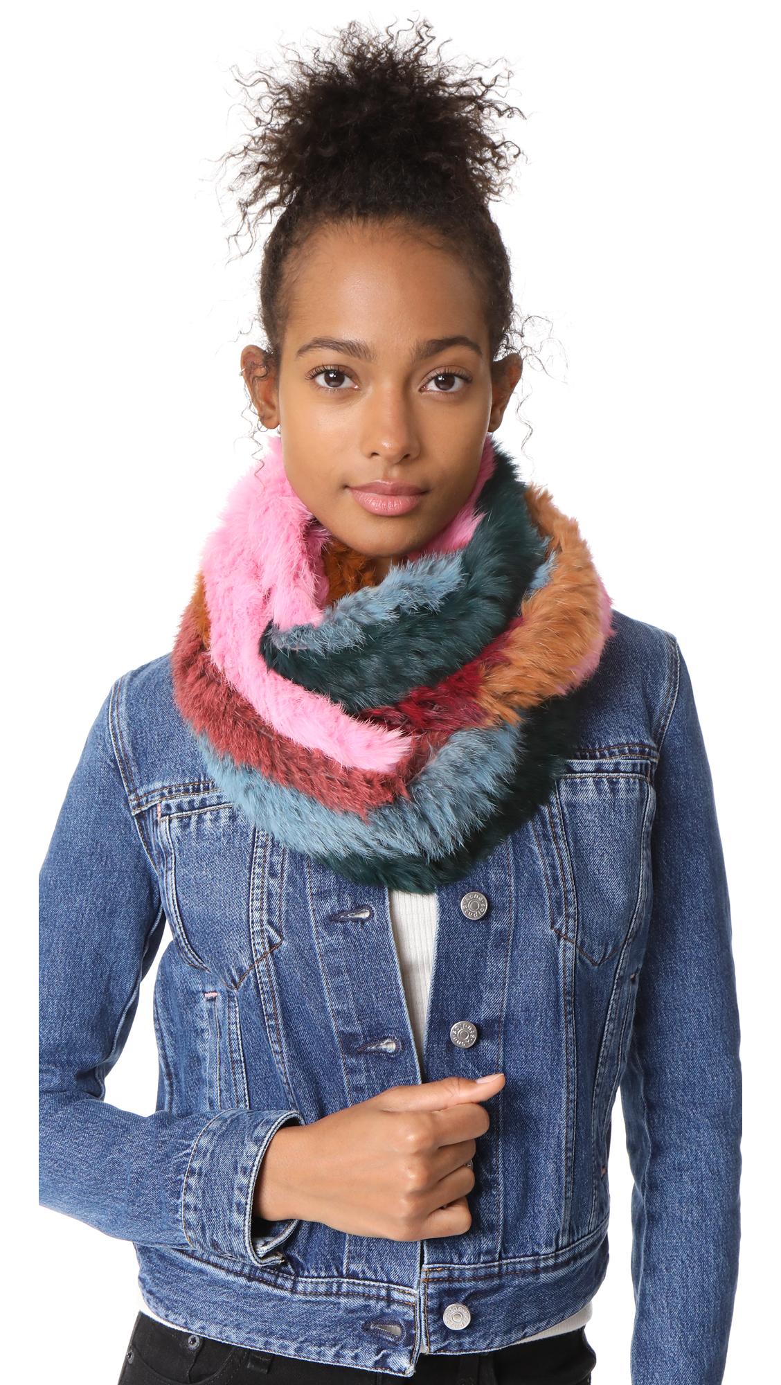 Jocelyn Stripe Fur Infinity Scarf - Bright Multi