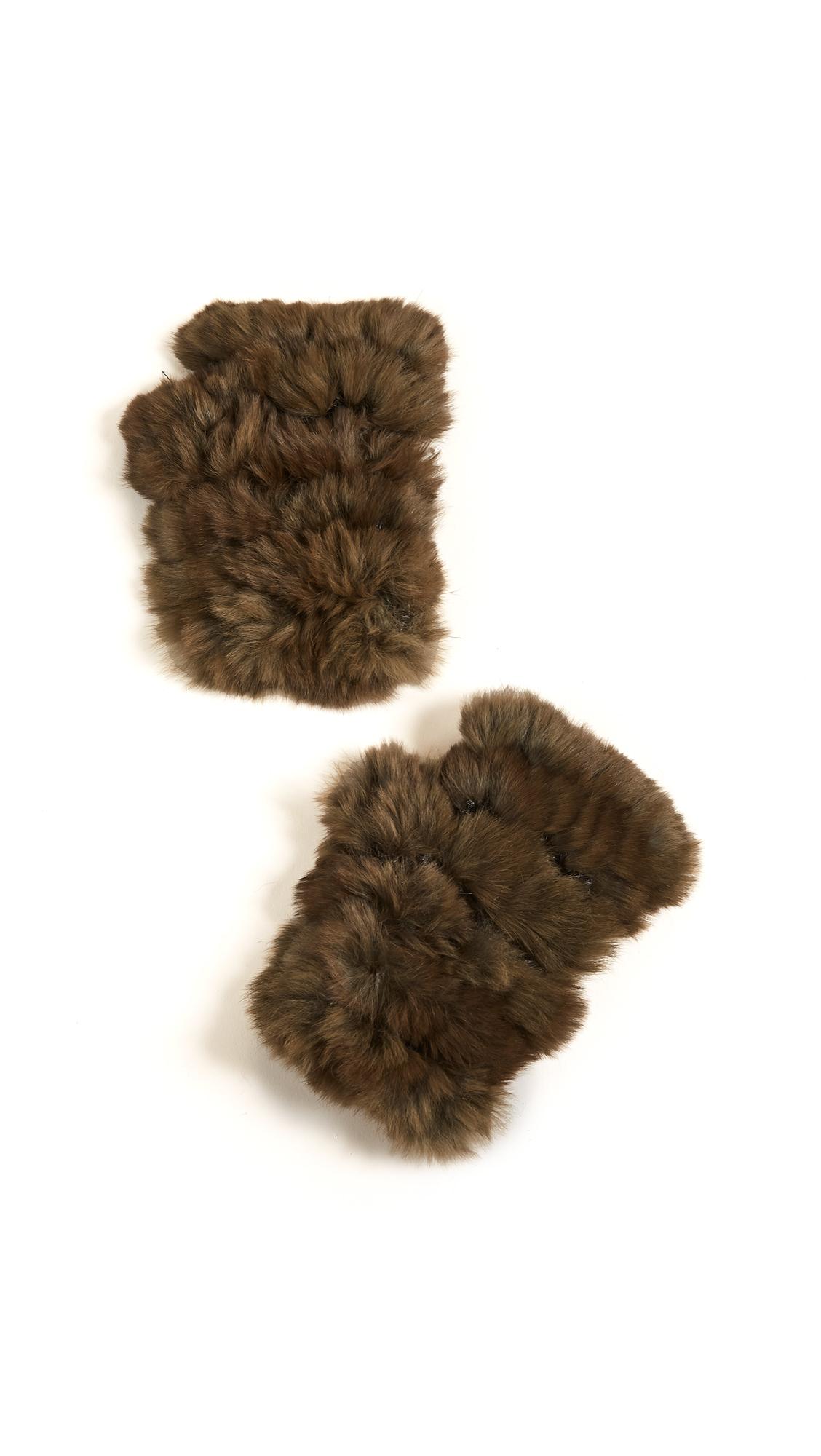 Jocelyn Fingerless Fur Gloves - Olive