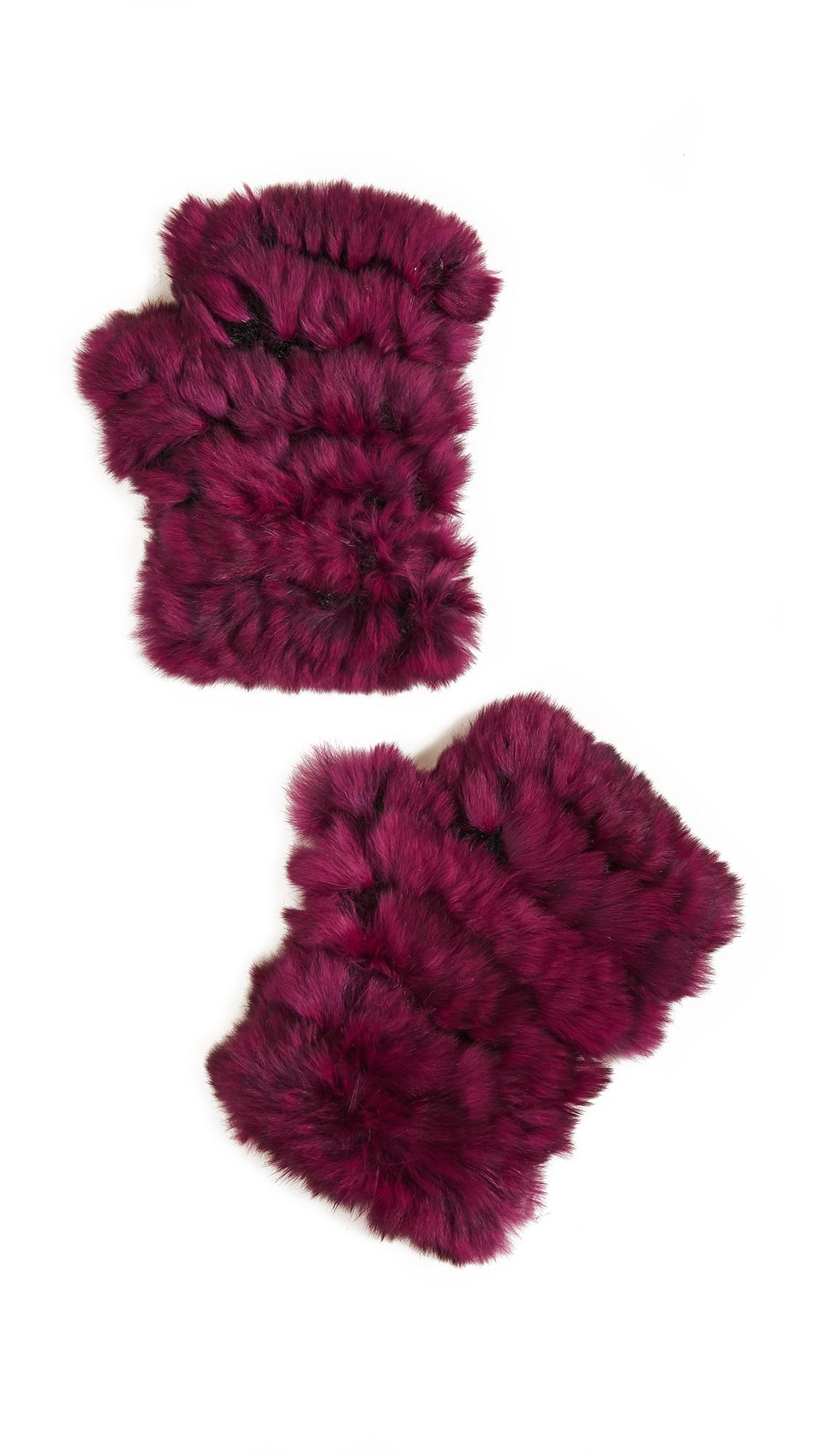 Jocelyn Fingerless Fur Gloves - Ruby