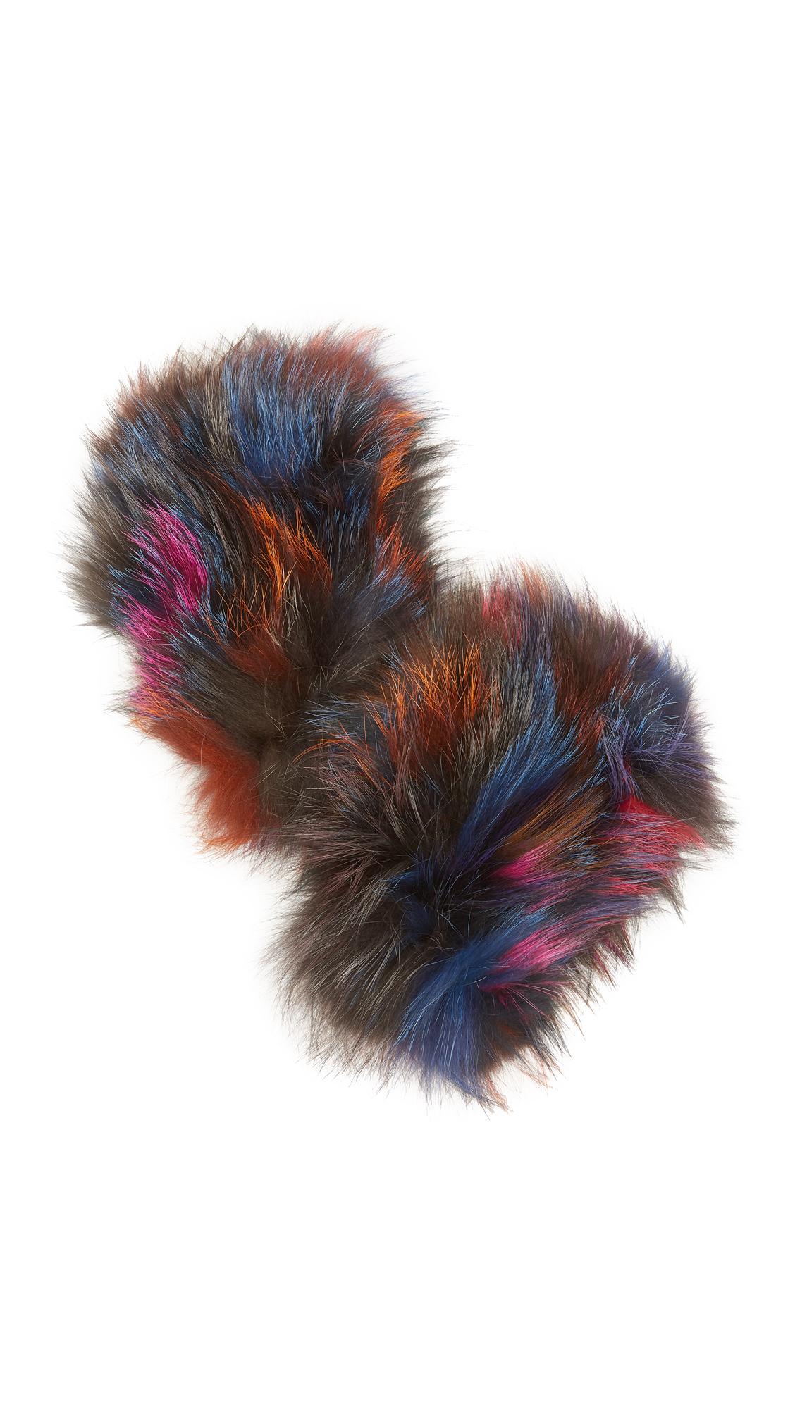 Jocelyn Fingerless Fur Gloves - Dark Multi