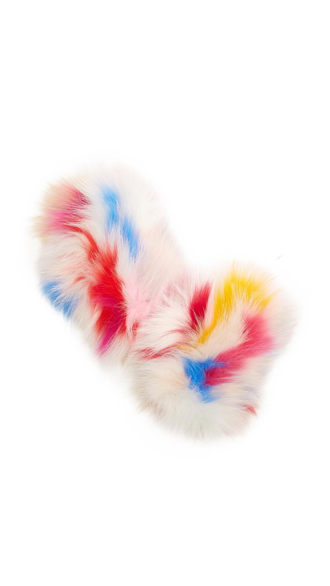 Jocelyn Fingerless Fur Gloves - Light Multi