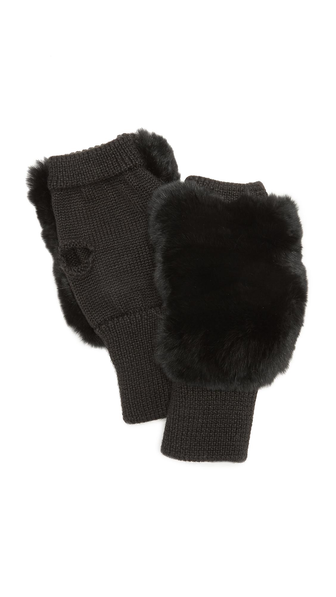 Jocelyn Fingerless Fur Gloves - Black