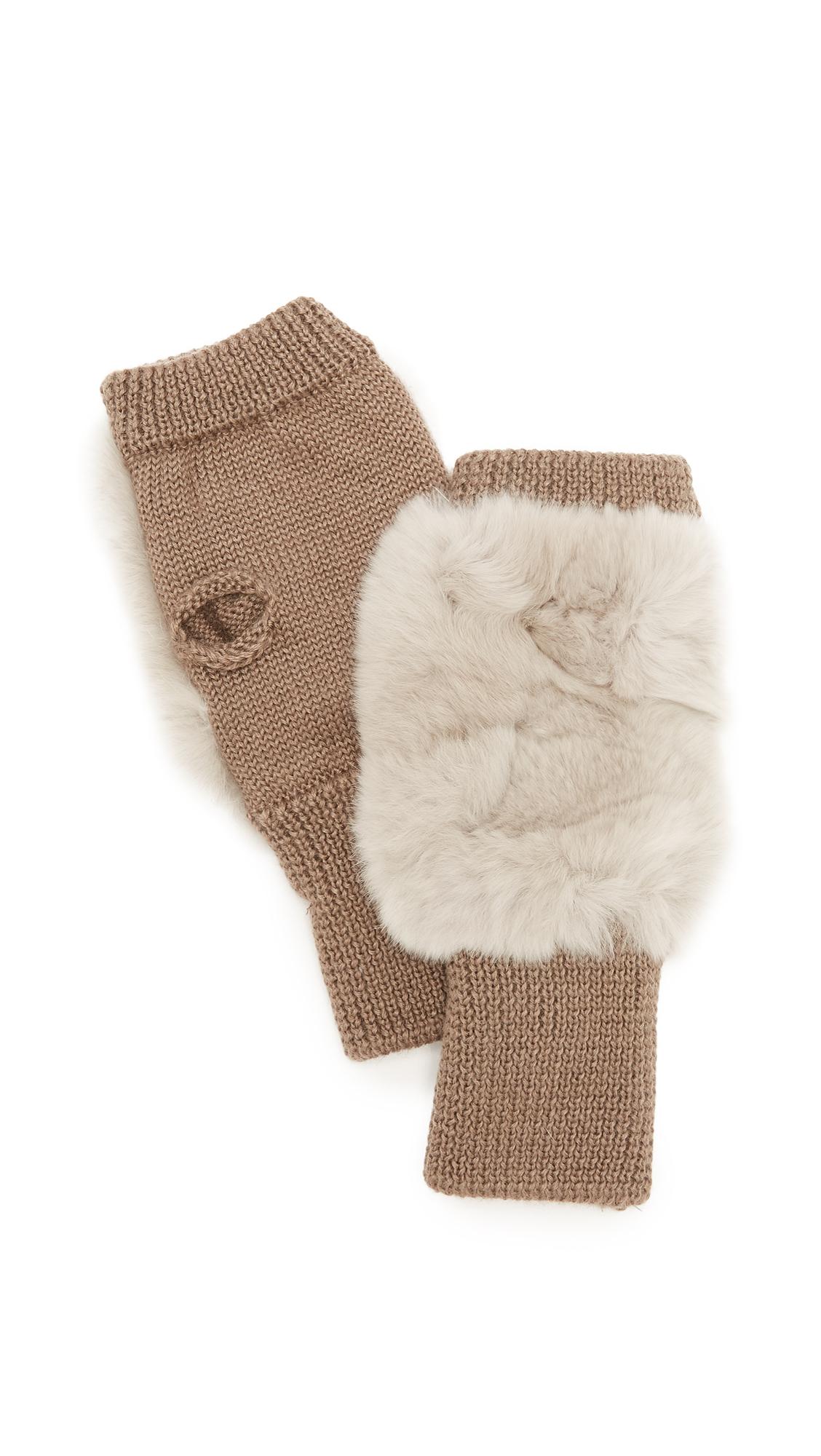 Jocelyn Fingerless Fur Gloves - Silver Cloud
