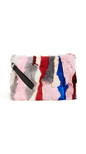 Jocelyn Rex Rabbit Fur Clutch In Light Multi