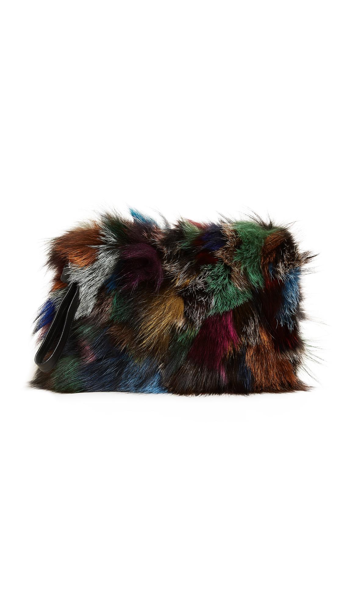 Jocelyn Fox Fur Clutch - Dark Multi