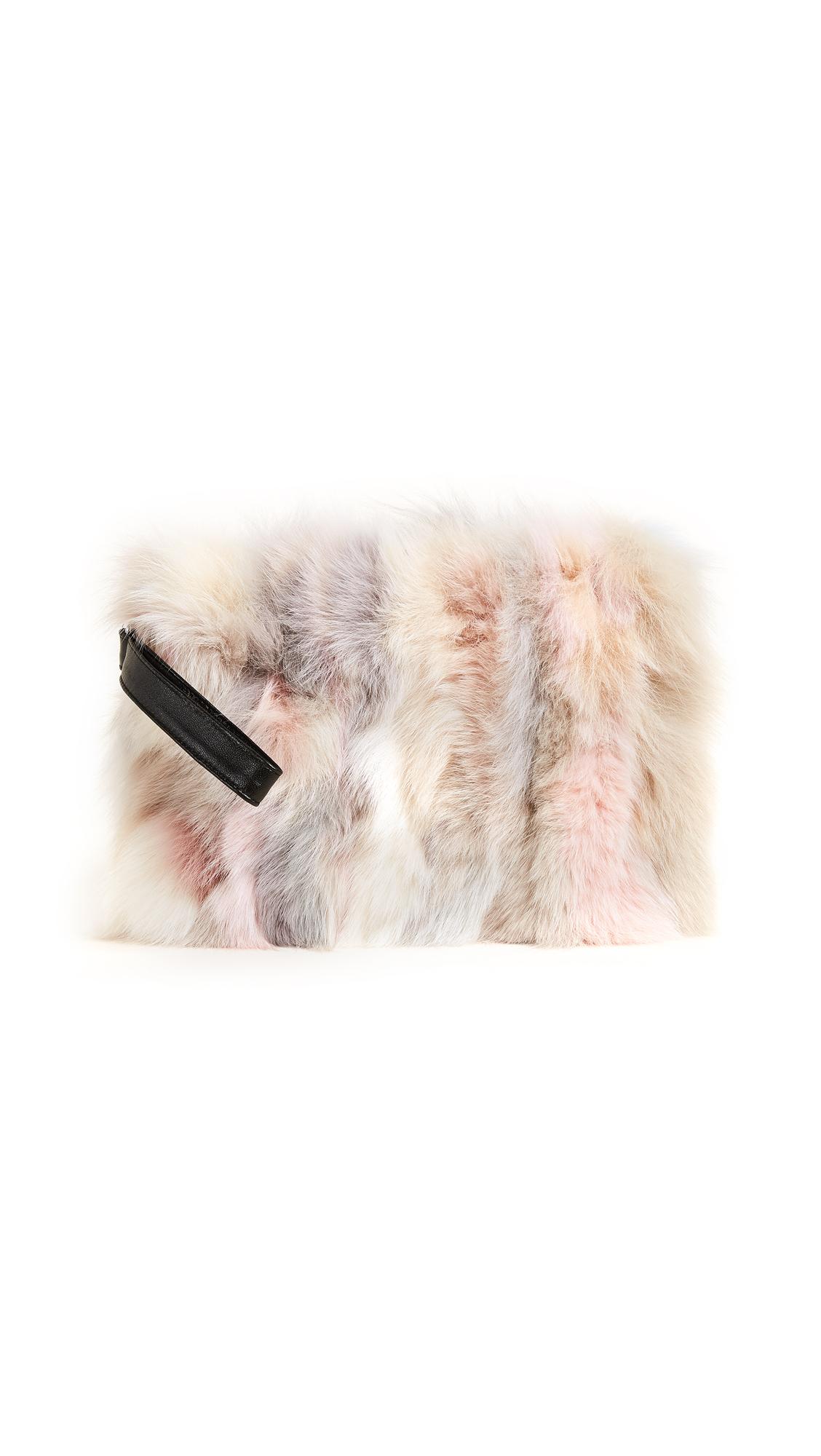 Jocelyn Fox Fur Clutch - Nude Multi