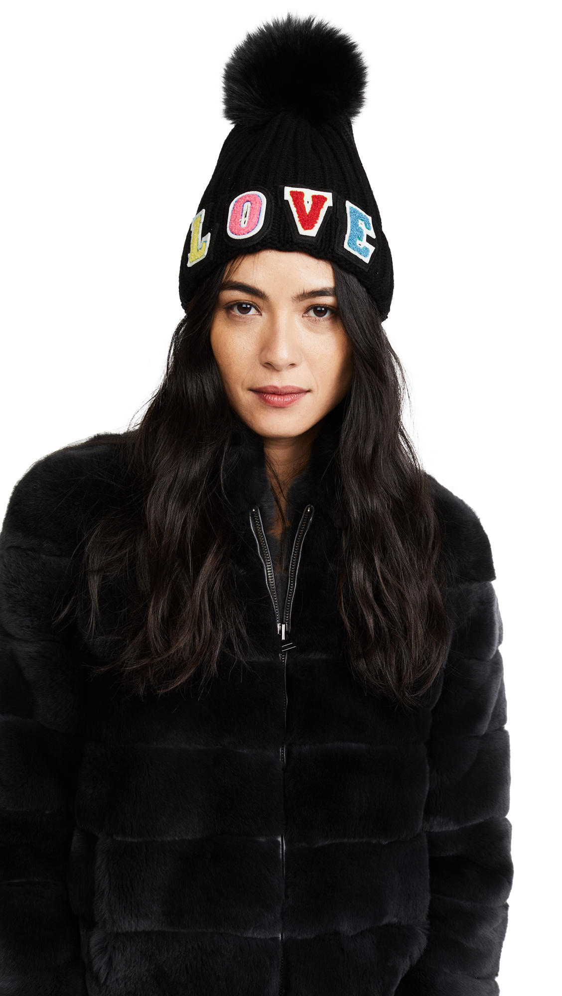 Jocelyn Love Fur Pom Hat - Black Multi