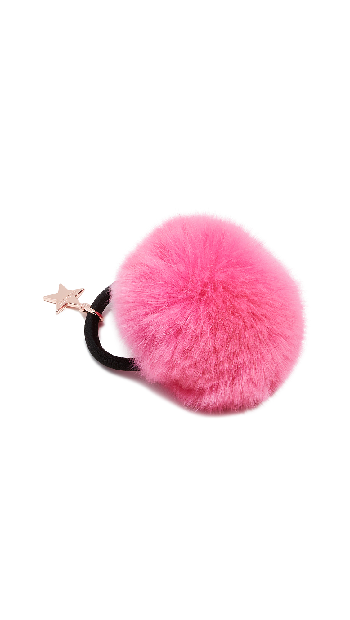 Rex Rabbit Fur Pom Pom Hair Tie in Neon Pink