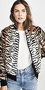 Jocelyn Faux Fur Tiger Bomber Jacket