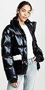 Jocelyn Patent Faux Sherpa Puffer Jacket
