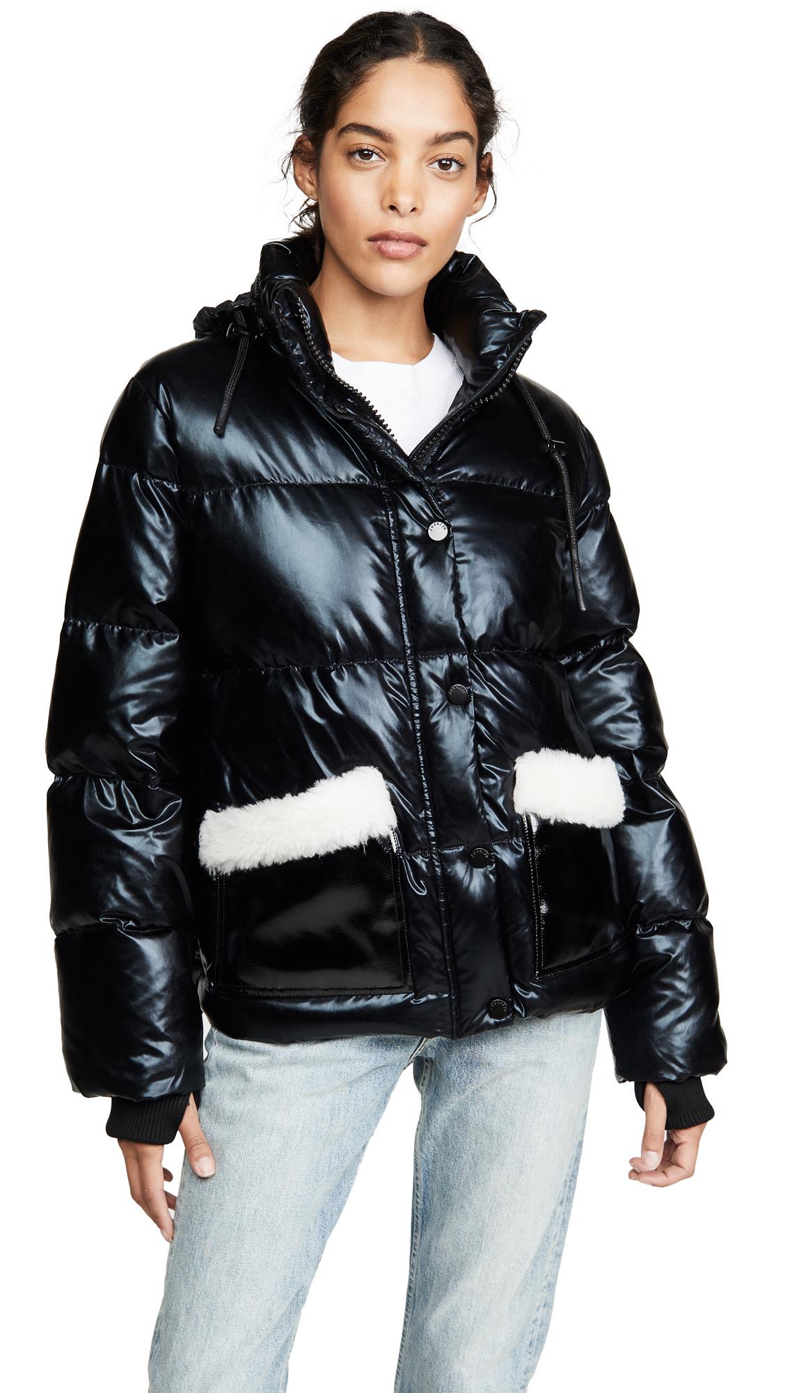 Buy Jocelyn online - photo of Jocelyn Patent Faux Sherpa Puffer Jacket