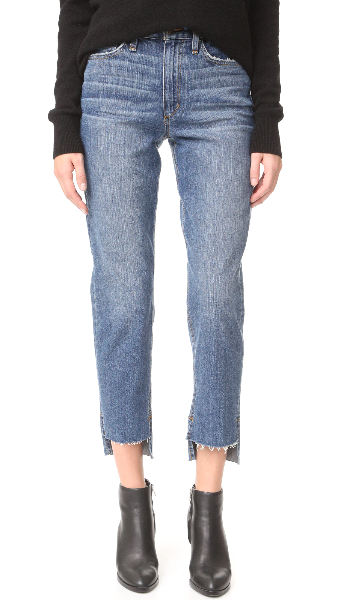 Raw, uneven hems lend a hand cropped look to these relaxed Joe's jeans. Whiskering creases the faded wash. 5 pocket styling. Button closure and zip fly. Fabric: Stretch denim. 98% cotton/2% elastane. Wash cold or dry clean. Imported,