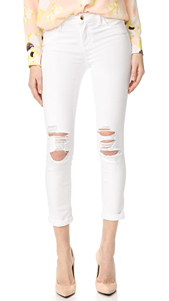 Joe's Jeans Andie Mid Rise Skinny Crop Jeans In Optic White