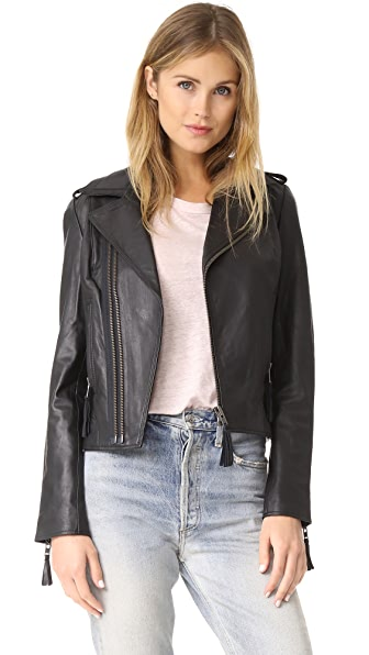 Joie Ailey Leather Jacket In Caviar