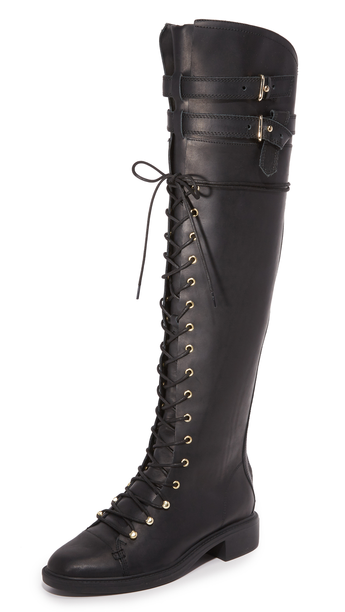 Buckle straps at the top line add an edgy feel to these over the knee Joie combat boots. Lace up closure and hidden back zip. Low heel and rubber sole. Leather: Pigskin. Imported, China. This item