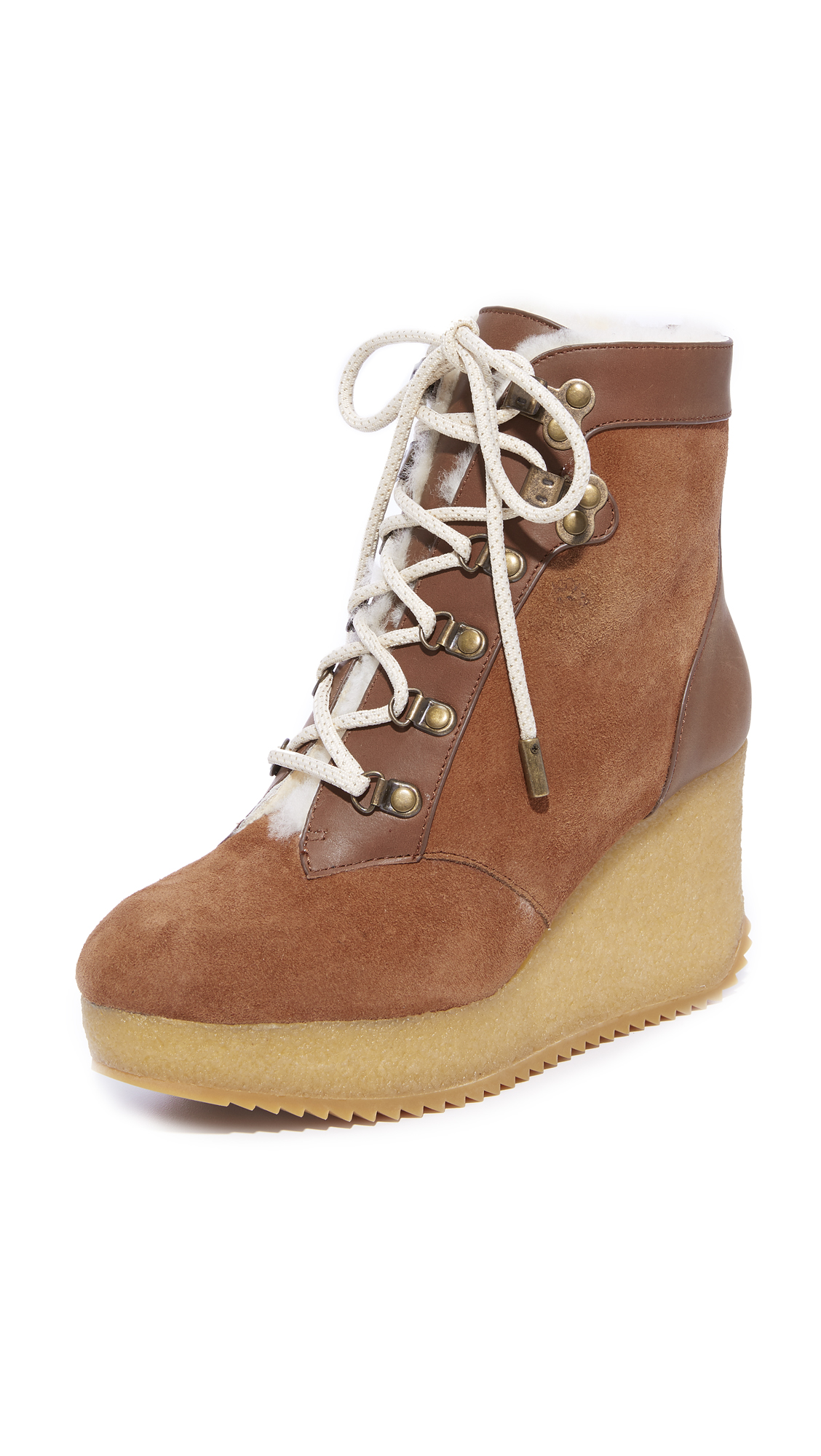 Joie Alary Wedge Hiker Booties - Burnt Umber