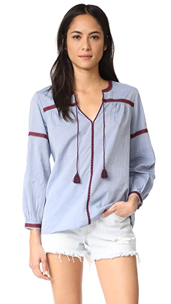 Joie Marlen Blouse - Chambray with Burnt Currant