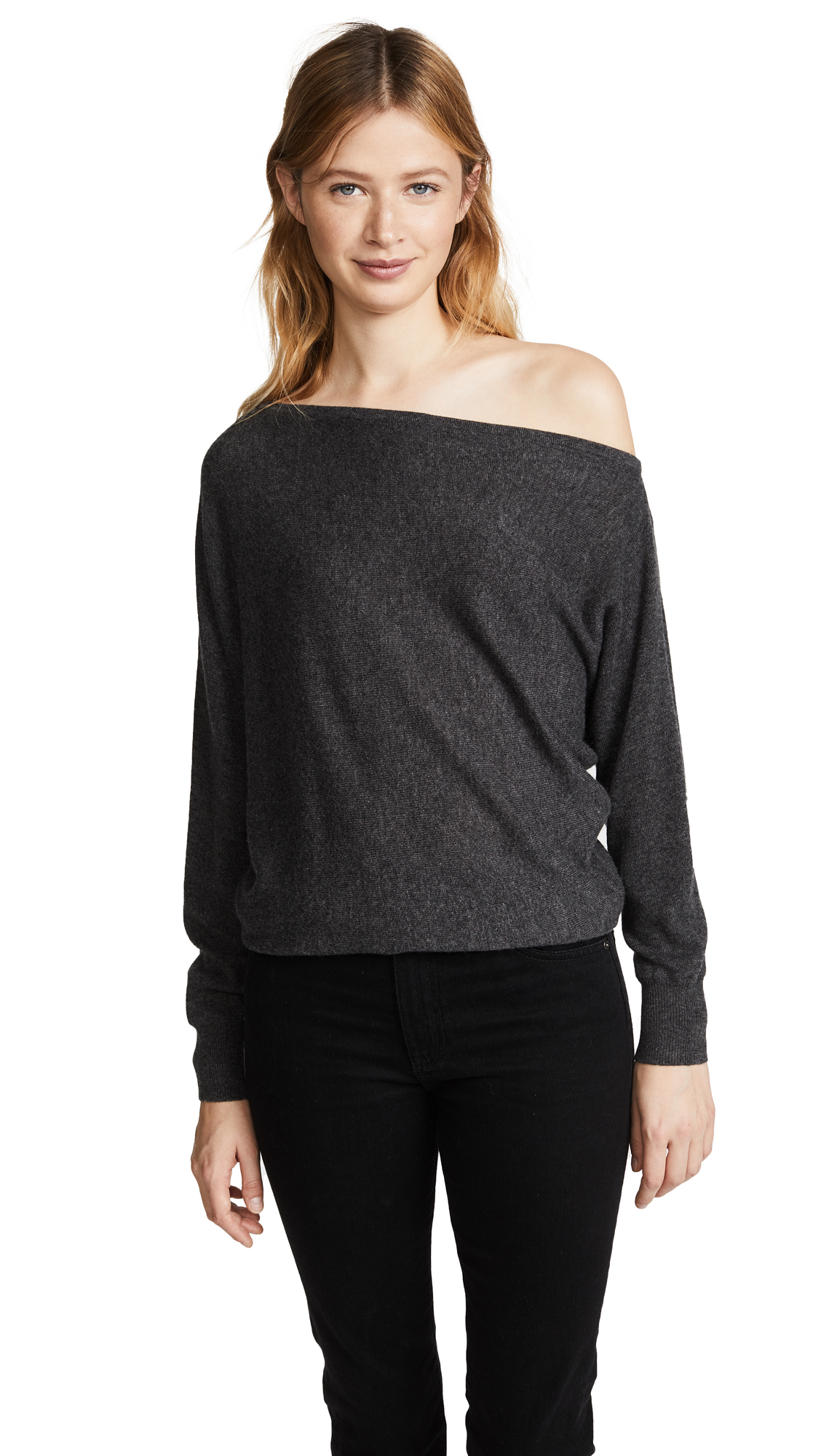 Joie Helice Off Shoulder Cashmere Sweater - Med Heather Grey