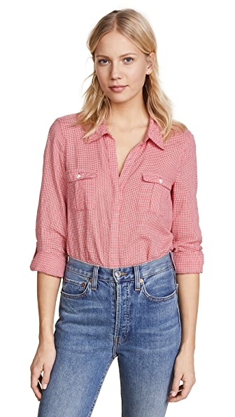 Joie Booker Button Down Shirt In Alarm Red