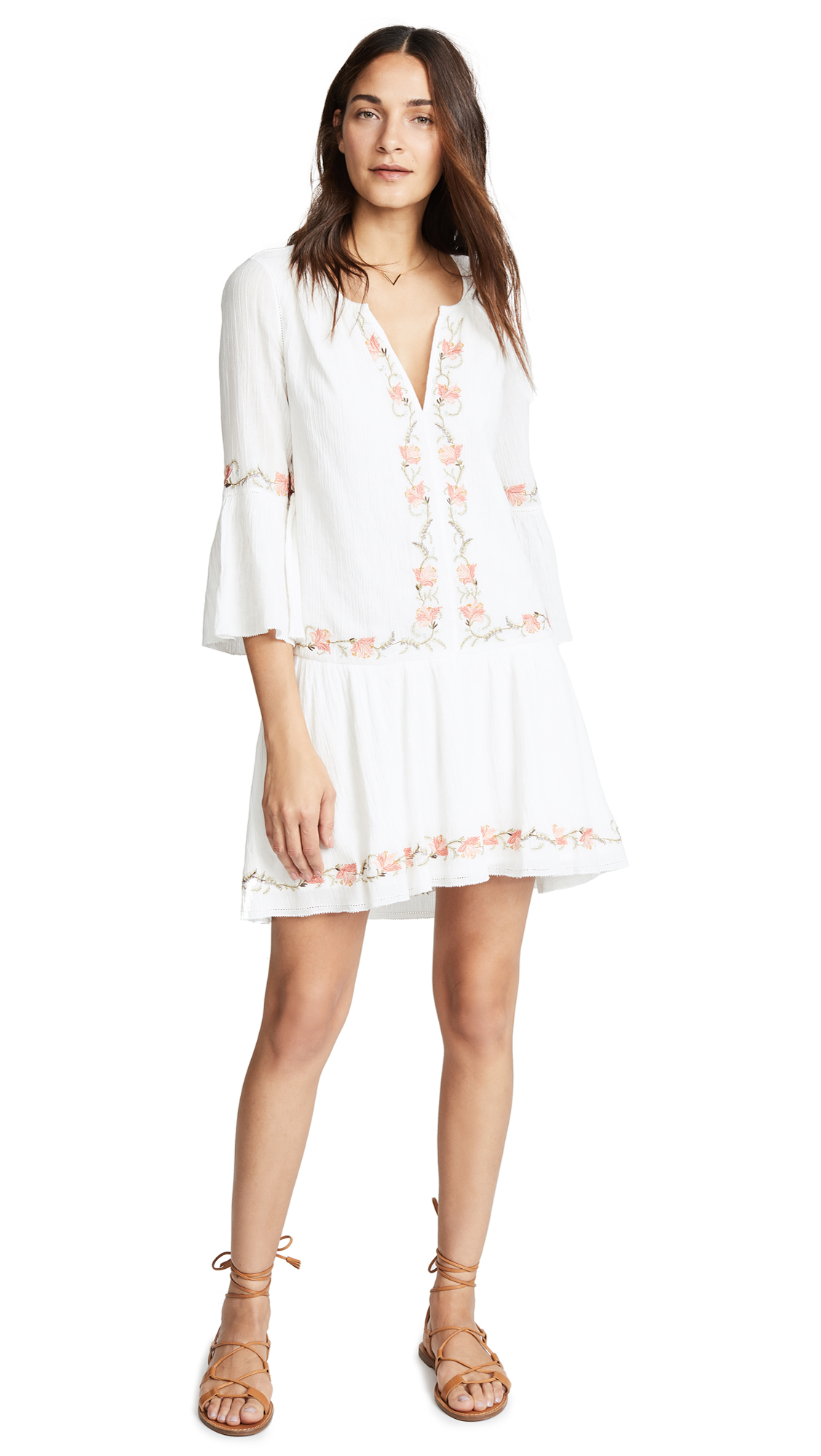 41c04fd3f244 Joie Jarette Embroidered 3/4-Sleeve Mini Dress In Porcelain | ModeSens