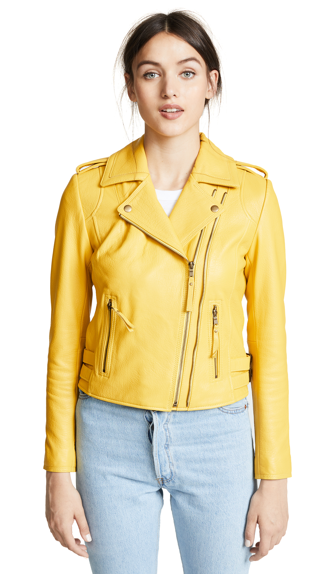 Joie Leolani Leather Jacket In Cornsilk
