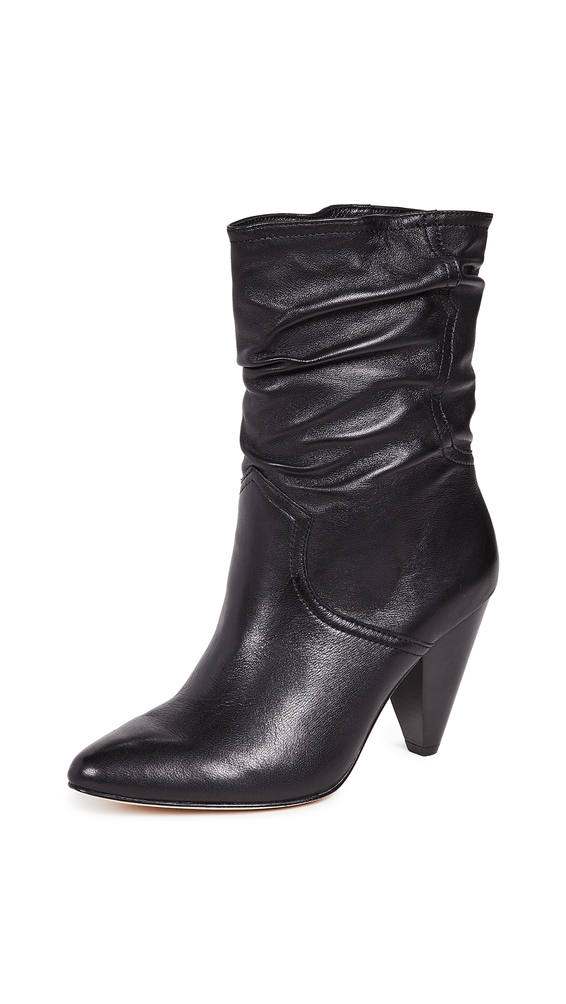 Gabbissy Slouchy Leather Mid-Calf Boots, Black